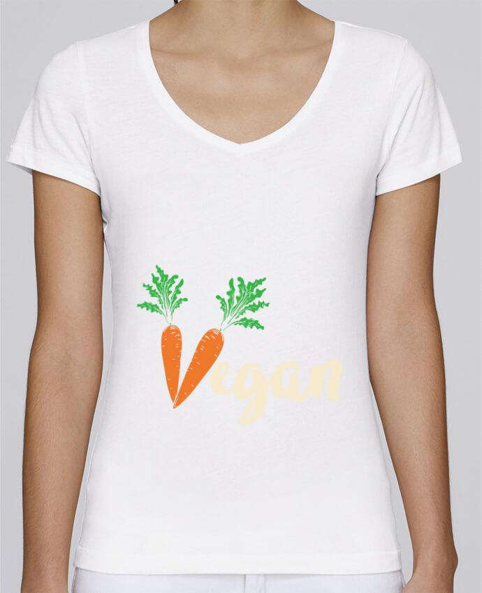 T-shirt Femme Col V Stella Chooses Vegan carrot par Bichette