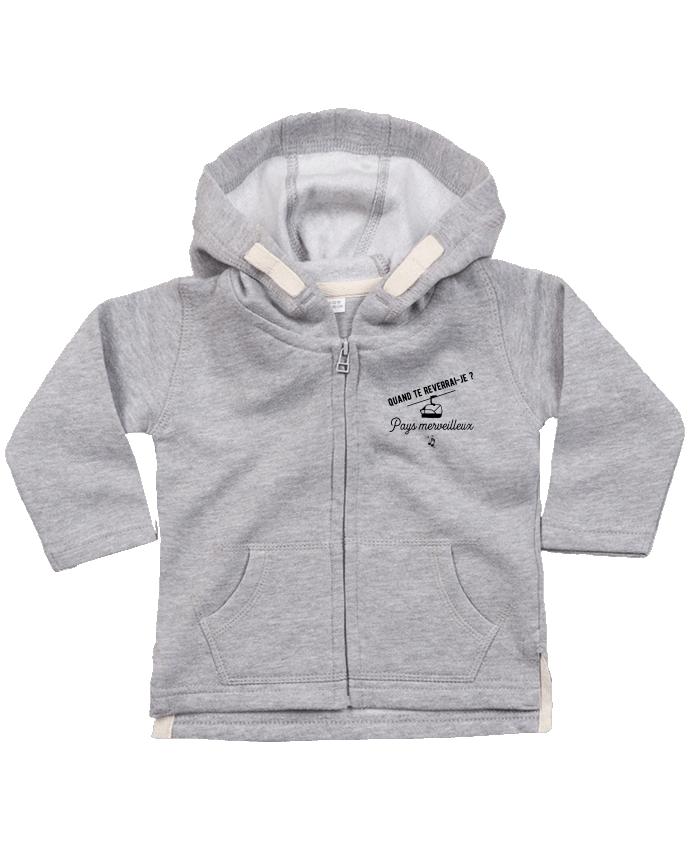 Sweat Bébé Zippé à Capuche Pays merveilleux humour par Original t-shirt