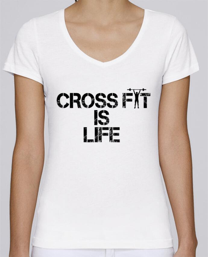 T-shirt Femme Col V Stella Chooses Crossfit is life par tunetoo