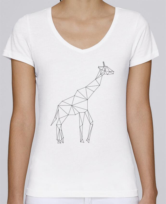 T-shirt Femme Col V Stella Chooses Giraffe origami par /wait-design