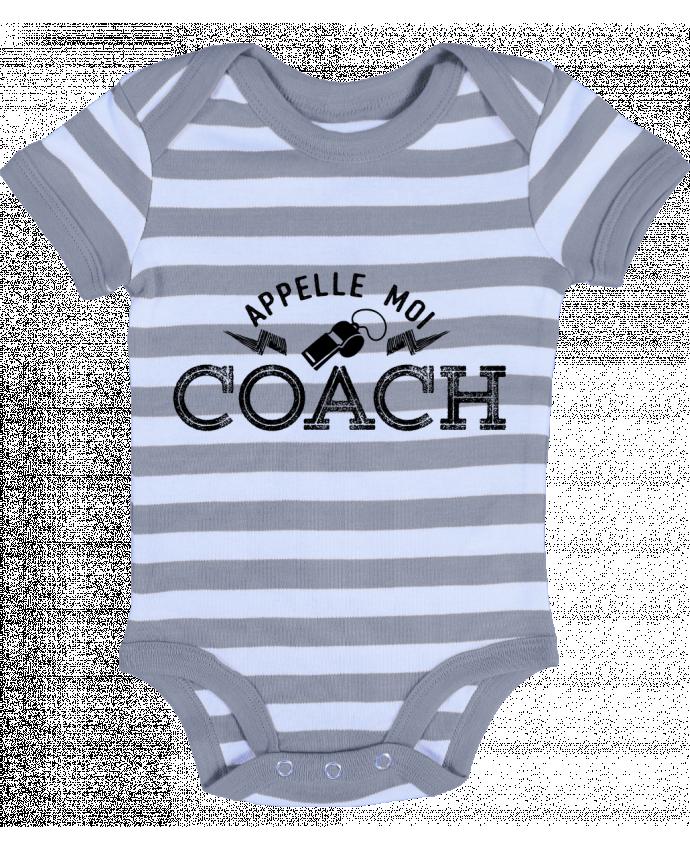 Body Bébé à Rayures Appelle moi coach - tunetoo