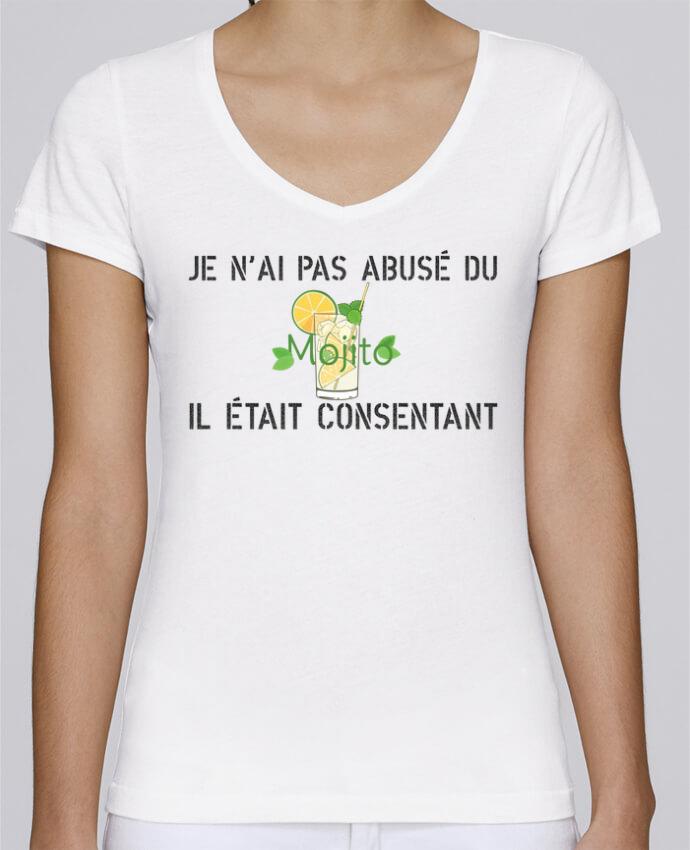 T-shirt Femme Col V Stella Chooses Je n'ai pas abusé du mojito, il était consentant ! par tunetoo