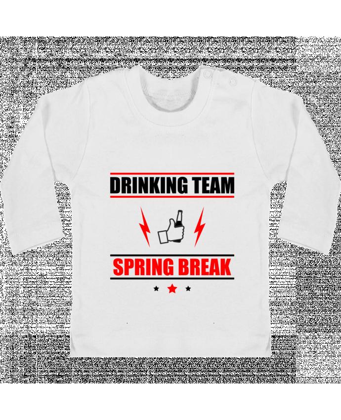 T-shirt Bébé Manches Longues Boutons Pression Drinking Team Spring Break manches longues du designer Benichan