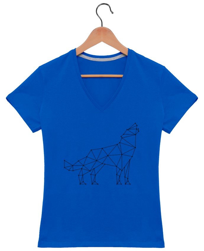 T-shirt Col V Femme 180 gr wolf - geometry par /wait-design