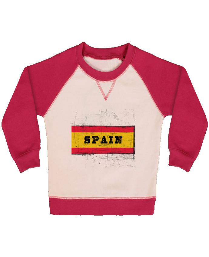 Sweat Shirt Bébé Col Rond Manches Raglan Contrastées Drapeau espagnol par Les Caprices de Filles