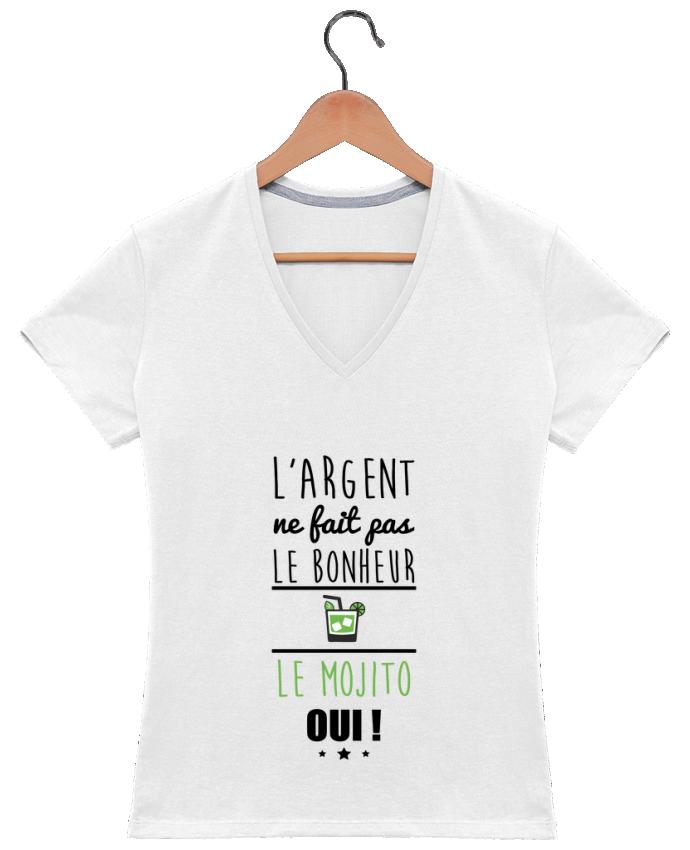 T-shirt Col V Femme 180 gr L'argent ne fait pas le bonheur le mojito oui ! par Benichan