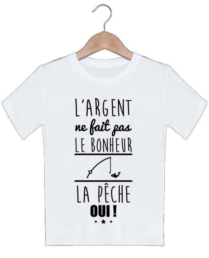 T-shirt garçon motif L'argent ne fait pas le bonheur la pêche oui ! Benichan