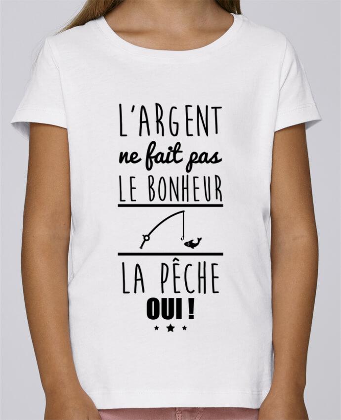 T-shirt Fille Mini Stella Draws L'argent ne fait pas le bonheur la pêche oui ! par Benichan