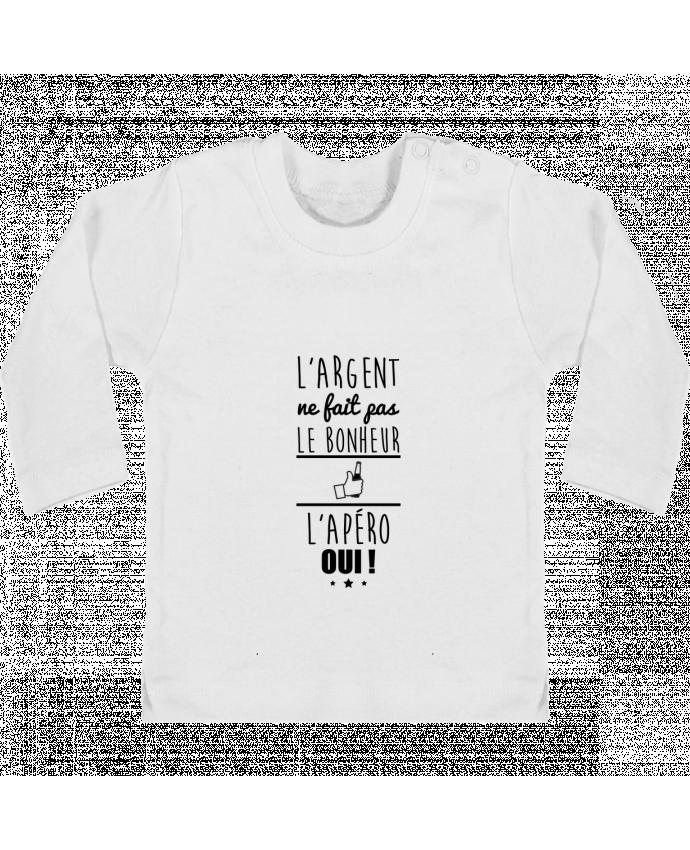 T-shirt Bébé Manches Longues Boutons Pression L'argent ne fait pas le bonheur l'apéro oui ! manches longues du designer Benichan