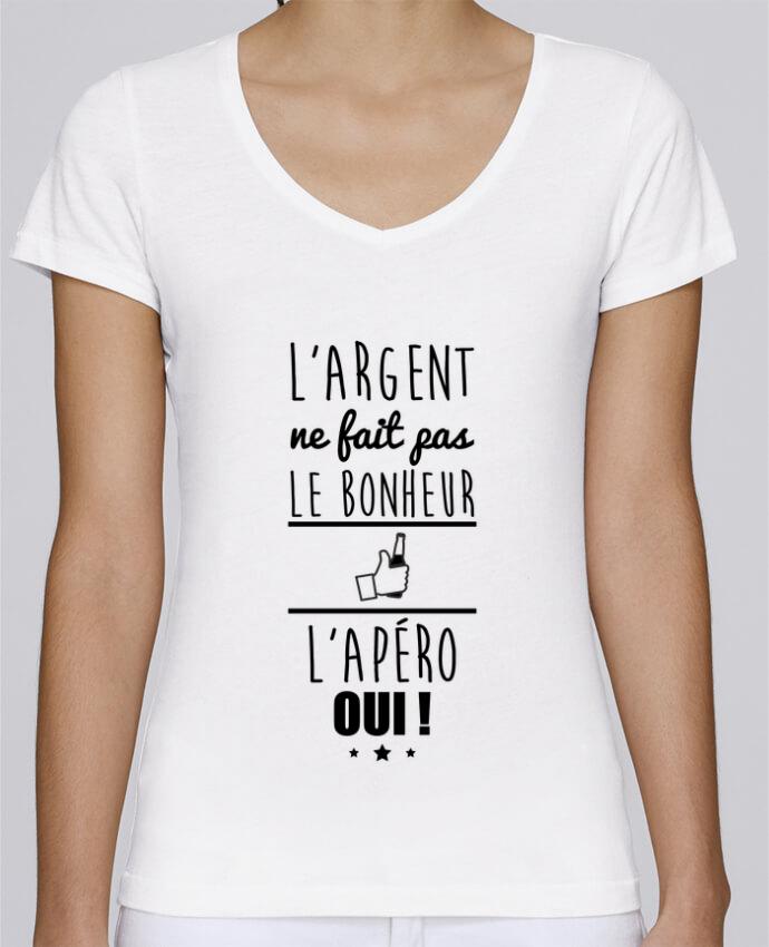 T-shirt Femme Col V Stella Chooses L'argent ne fait pas le bonheur l'apéro oui ! par Benichan