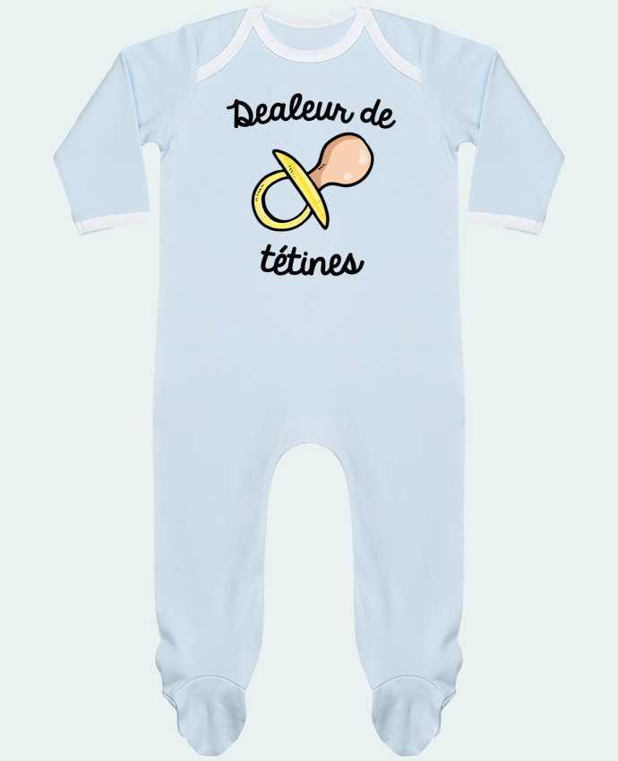 Pyjama Bébé Manches Longues Contrasté Dealeur de tétines par FRENCHUP-MAYO
