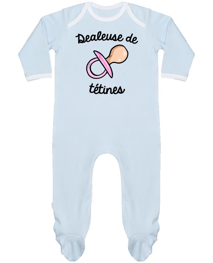 Pyjama Bébé Manches Longues Contrasté Dealeuse de tétines par FRENCHUP-MAYO