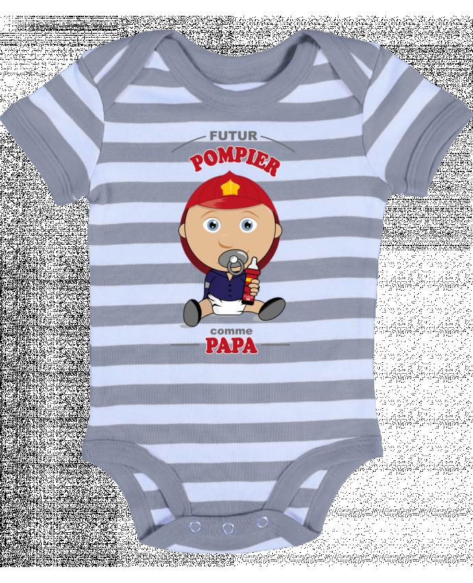 Body Bébé à Rayures Futur pompier comme papa - GraphiCK-Kids