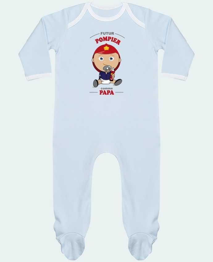 Pyjama Bébé Manches Longues Contrasté Futur pompier comme papa par GraphiCK-Kids