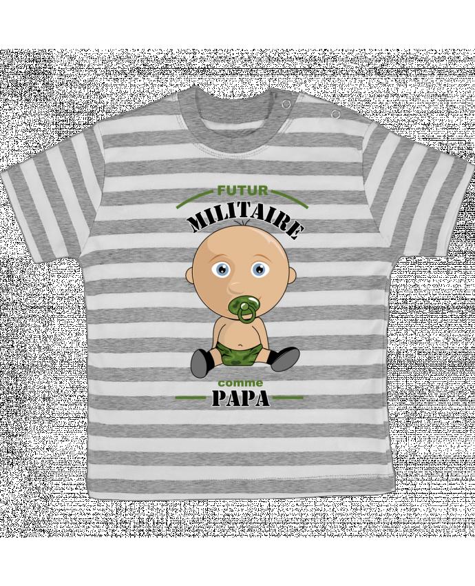 T-shirt Bébé à Rayures Futur militaire comme papa par GraphiCK-Kids