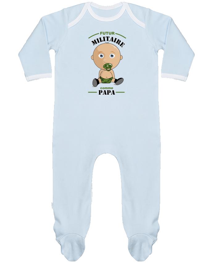 Pyjama Bébé Manches Longues Contrasté Futur militaire comme papa par GraphiCK-Kids
