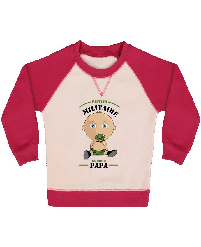 Sweat Shirt Bébé Col Rond Manches Raglan Contrastées Futur militaire comme papa par GraphiCK-Kids