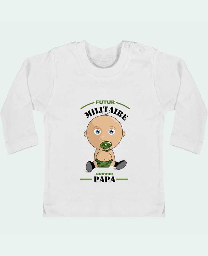 T-shirt Bébé Manches Longues Boutons Pression Futur militaire comme papa manches longues du designer GraphiCK-Kids