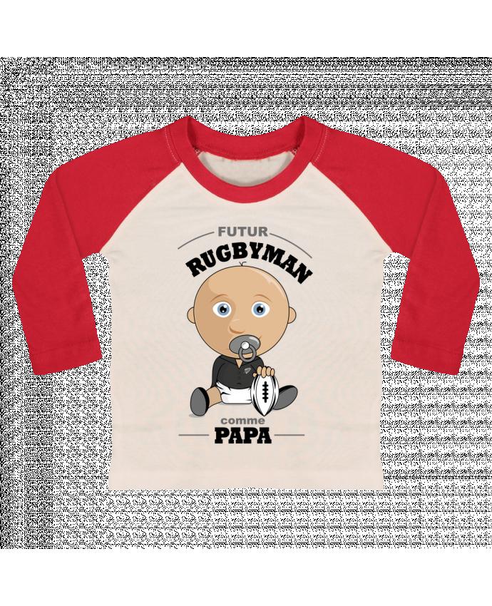 T-shirt Bébé Baseball Manches Longues Futur rugbyman comme papa par GraphiCK-Kids