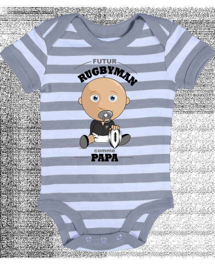 Body Bébé à Rayures Futur rugbyman comme papa - GraphiCK-Kids