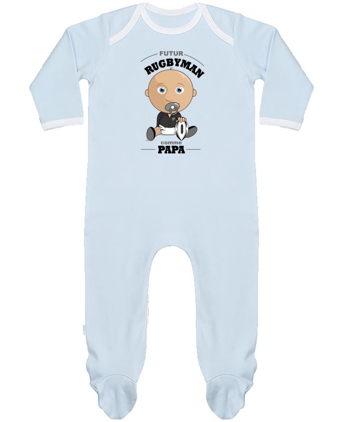 Pyjama Bébé Manches Longues Contrasté Futur rugbyman comme papa par GraphiCK-Kids