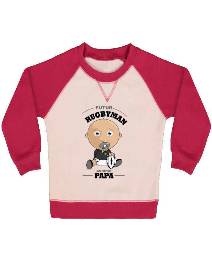 Sweat Shirt Bébé Col Rond Manches Raglan Contrastées Futur rugbyman comme papa par GraphiCK-Kids