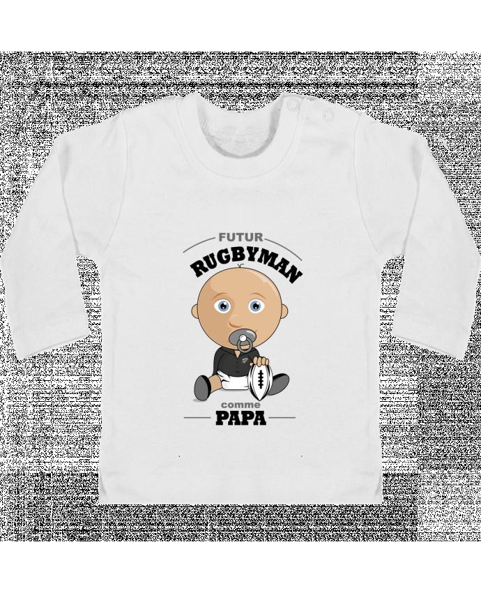 T-shirt Bébé Manches Longues Boutons Pression Futur rugbyman comme papa manches longues du designer GraphiCK-Kids