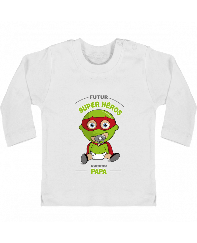 T-shirt Bébé Manches Longues Boutons Pression Futur Super Héros comme papa manches longues du designer GraphiCK-Kids