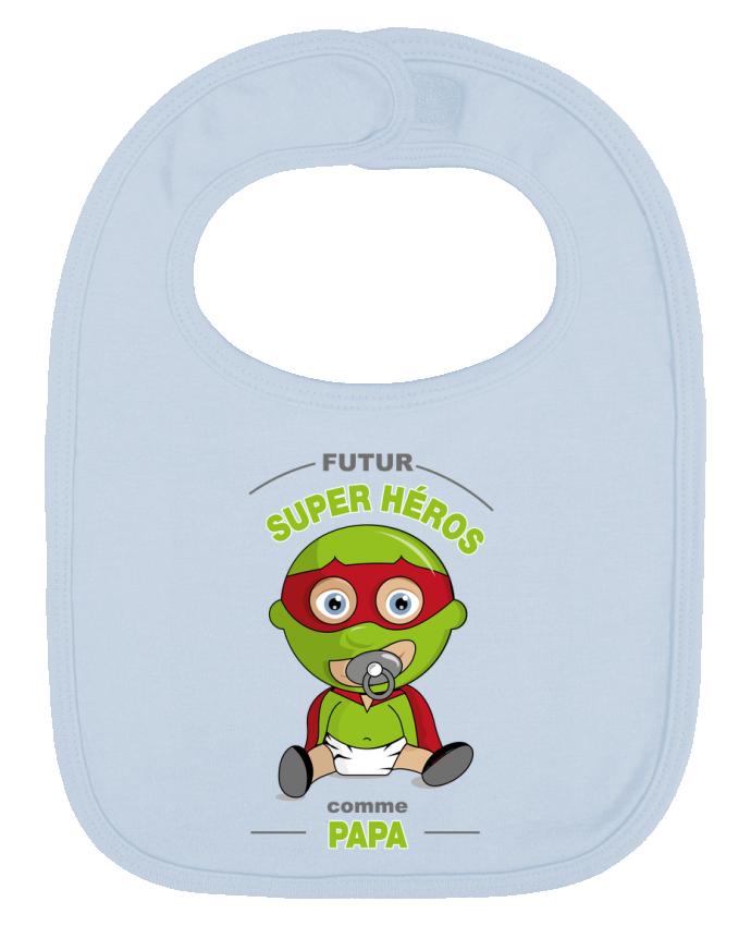 Bavoir Uni et Contrasté Futur Super Héros comme papa par GraphiCK-Kids