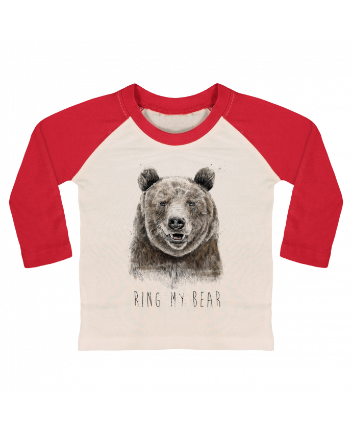 T-shirt Bébé Baseball Manches Longues Ring my bear par Balàzs Solti