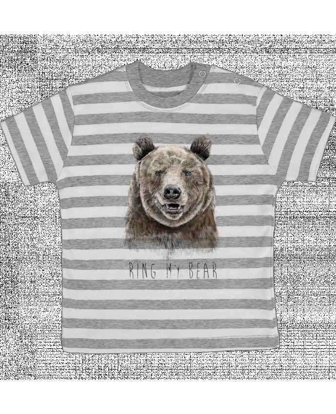 T-shirt Bébé à Rayures Ring my bear par Balàzs Solti