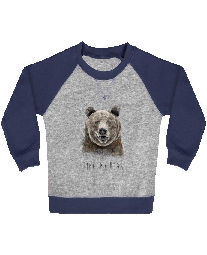 Sweat Shirt Bébé Col Rond Manches Raglan Contrastées Ring my bear par Balàzs Solti