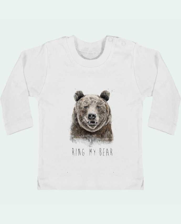 T-shirt Bébé Manches Longues Boutons Pression Ring my bear manches longues du designer Balàzs Solti