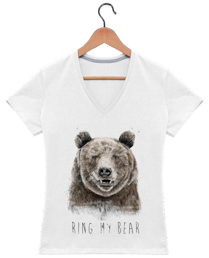 T-shirt Col V Femme 180 gr Ring my bear par Balàzs Solti