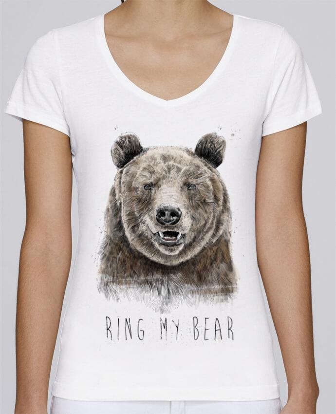 T-shirt Femme Col V Stella Chooses Ring my bear par Balàzs Solti