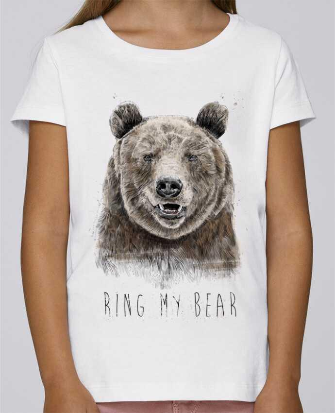 T-shirt Fille Mini Stella Draws Ring my bear par Balàzs Solti