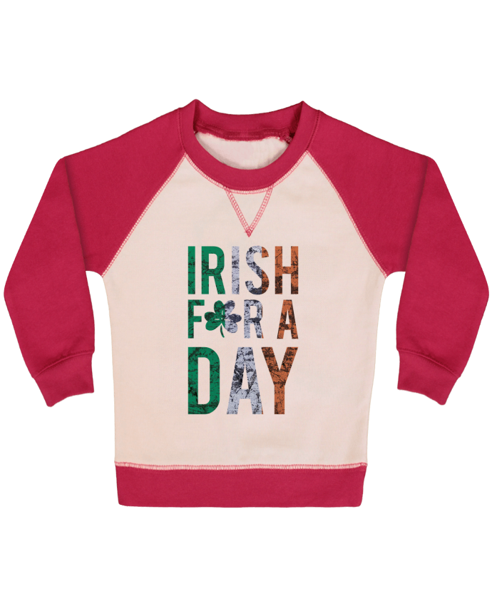 Sweat Shirt Bébé Col Rond Manches Raglan Contrastées Irish for a day par tunetoo