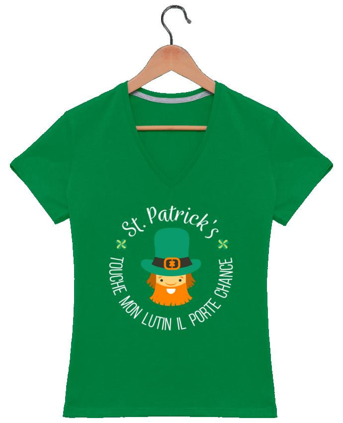 T-shirt Col V Femme 180 gr Saint Patrick, Touche mon lutin il porte chance par tunetoo