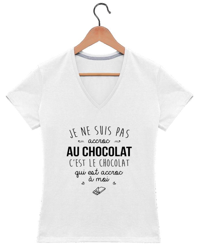 T-shirt Col V Femme 180 gr choco addict par DesignMe