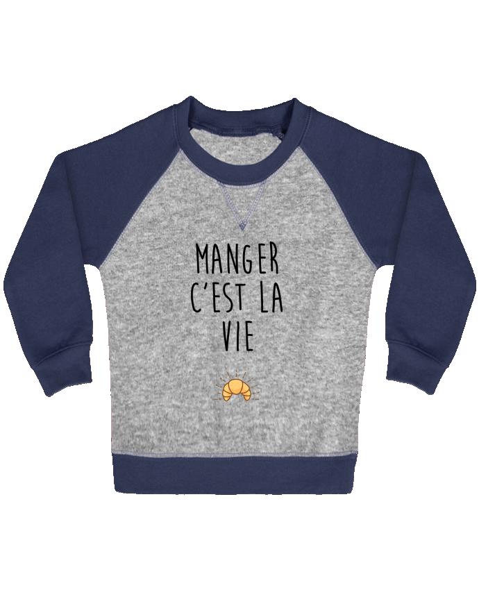 Sweat Shirt Bébé Col Rond Manches Raglan Contrastées Manger c'est la vie par tunetoo