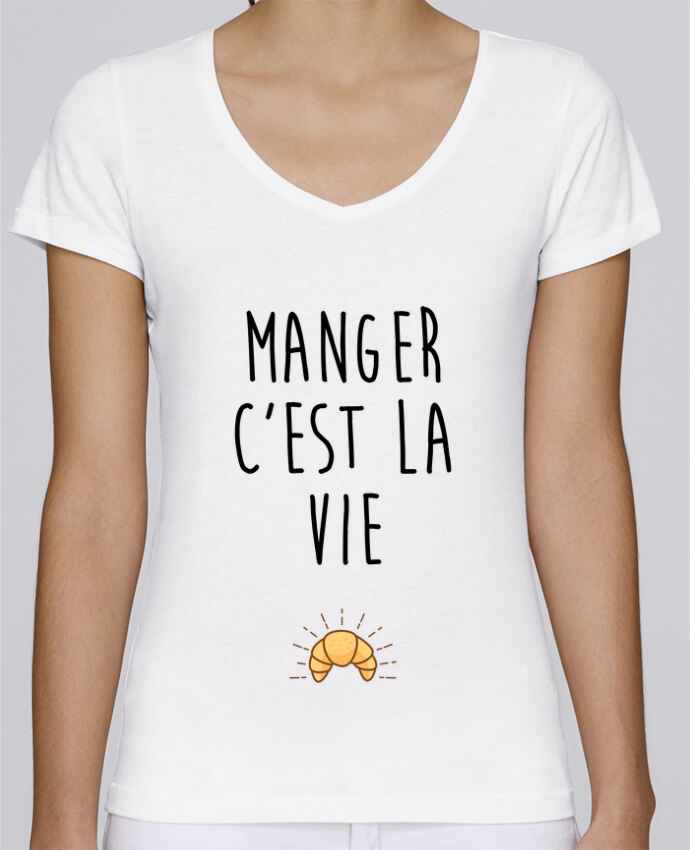T-shirt Femme Col V Stella Chooses Manger c'est la vie par tunetoo