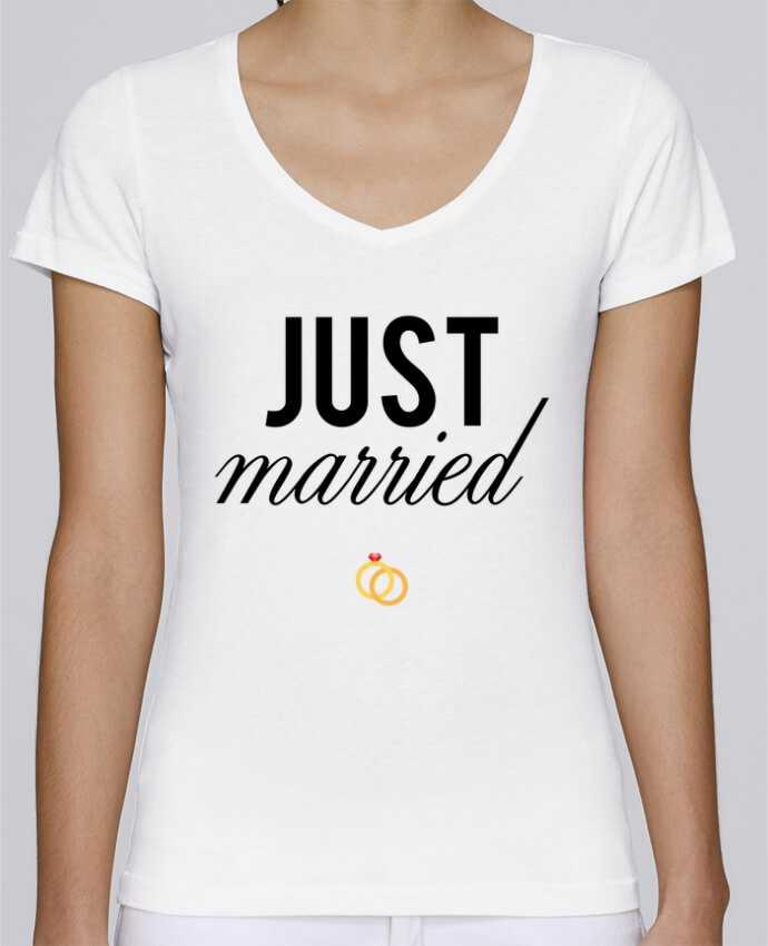 T-shirt Femme Col V Stella Chooses Just married par tunetoo