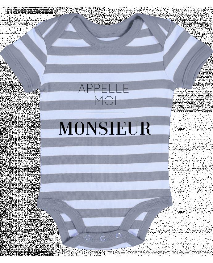 Body Bébé à Rayures Appelle moi Monsieur - tunetoo