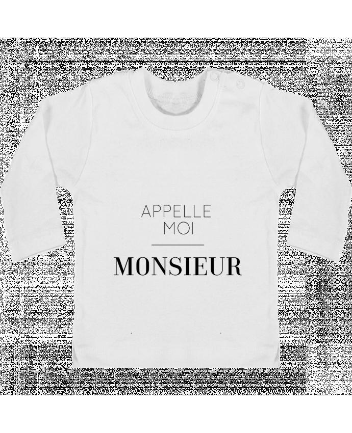 T-shirt Bébé Manches Longues Boutons Pression Appelle moi Monsieur manches longues du designer tunetoo