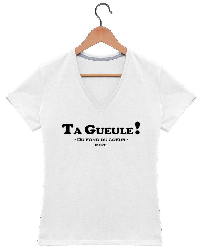 T-shirt Col V Femme 180 gr Ta geule ! par tunetoo