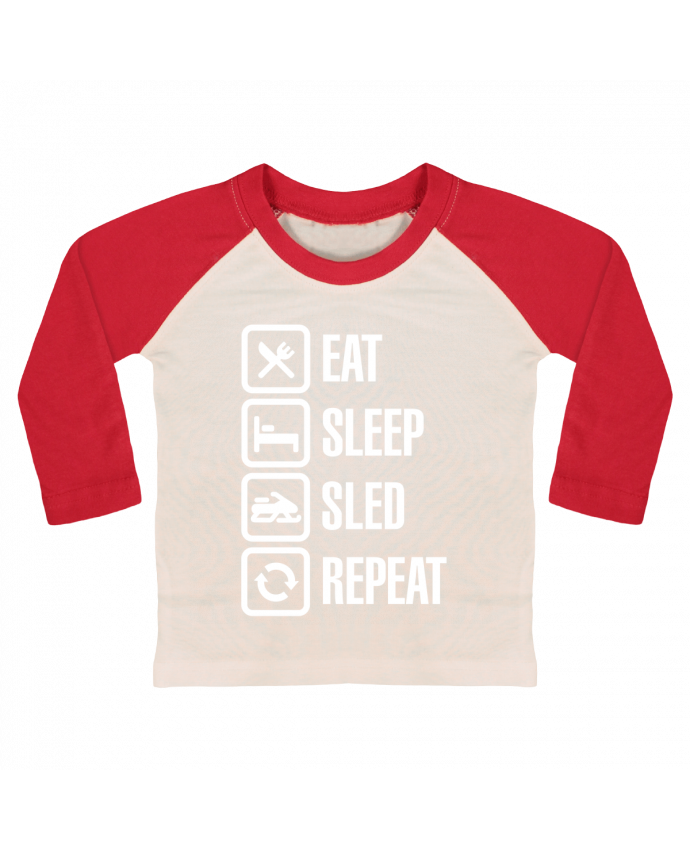 T-shirt Bébé Baseball Manches Longues Eat, sleep, sled, repeat par LaundryFactory