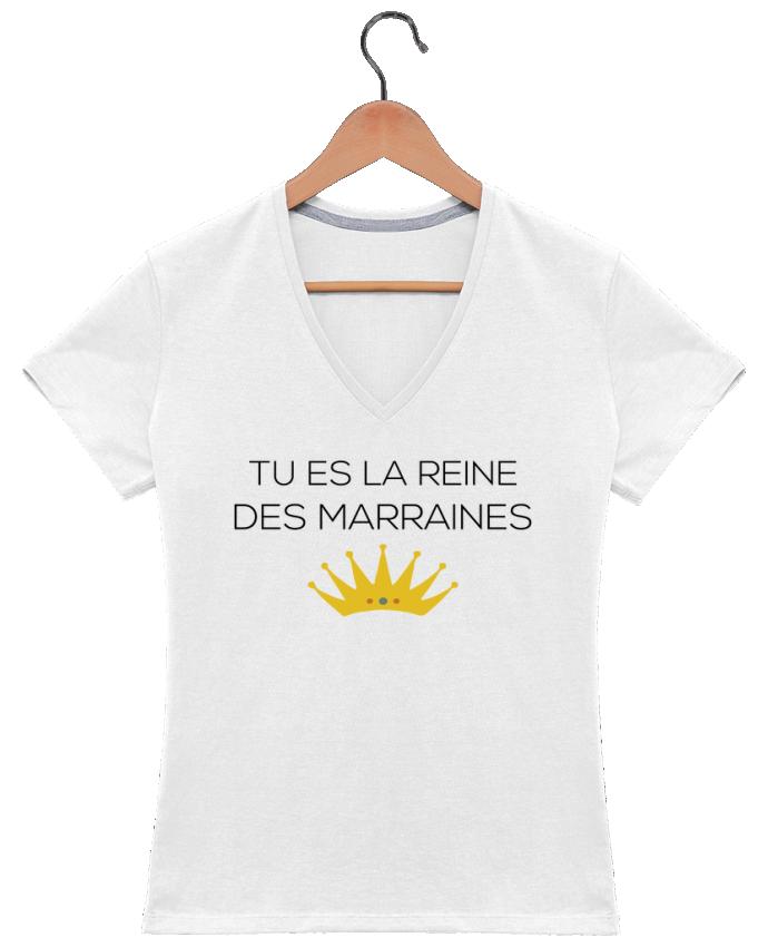 T-shirt Col V Femme 180 gr Tu es la reine des marraines par tunetoo