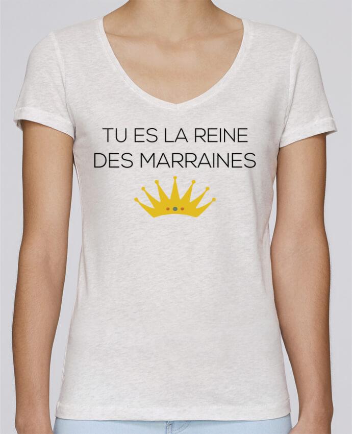 T-shirt Femme Col V Stella Chooses Tu es la reine des marraines par tunetoo