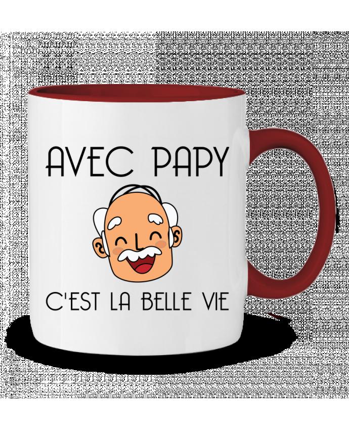 Mug en Céramique Bicolore Avec papy c'est la belle vie ! tunetoo