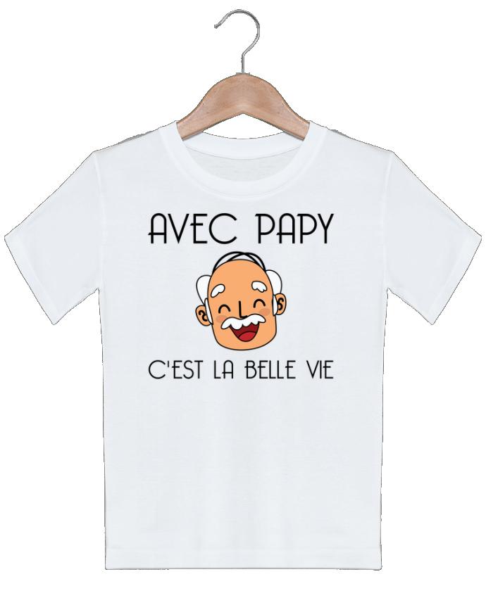 T-shirt garçon motif Avec papy c'est la belle vie ! tunetoo